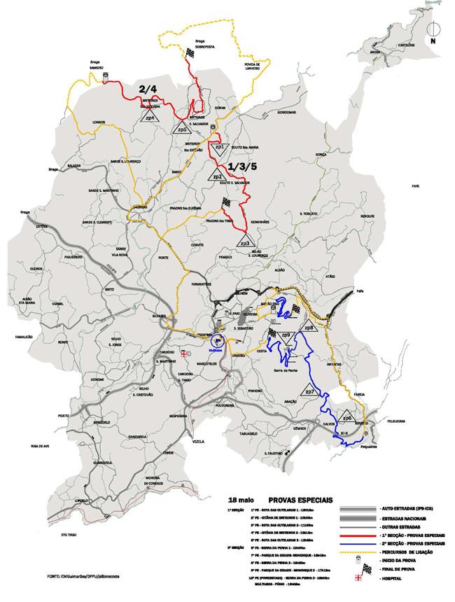 mapa cidade de guimarães MAPA TROÇOS RALI CIDADE DE GUIMARÃES / TARGA CLUBE mapa cidade de guimarães